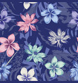 lotus plumeria seamless abstract blue background vector image vector image