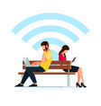 man and woman read using a tablet pc vector image vector image
