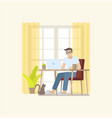 man working at home with desk vector image