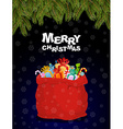 Merry Christmas Bag full of gifts Christmas night vector image