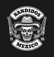 mexican bandit skull in sombrero emblem on dark vector image