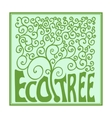 Monogram tree with curls outline emblem ecology vector image