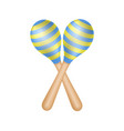 pair of maracas in blue and yellow design vector image vector image