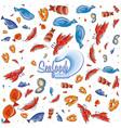 pattern of delicious sea food vector image