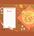 pizza recipe blank card or sheet template for vector image