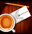 realistic cup of coffee with card vector image vector image