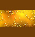realistic yellow oil with air bubbles vector image vector image