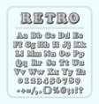 retro font on light blue background the alphabet vector image