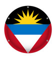 round metallic flag - antigua and barbuda screws vector image