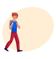 School boy teenager walking going somewhere with vector image vector image