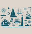 set of nautical design elements vector image vector image