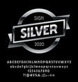 shiny glossy silver emblem with ribbon vector image vector image