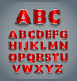 Shiny red font alphabet design vector image vector image