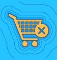 shopping cart with delete sign sand color vector image vector image