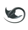 Swimming manta ray vector image