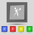 tennis icon sign on original five colored buttons vector image vector image
