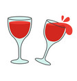 two glasses with wine flat icons vector image vector image