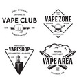 vape shop labels emblems badges set vaping vector image