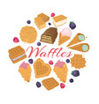 waffle dessert food backgrond vector image vector image