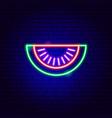 watermelon slice neon sign vector image