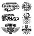 set of vintage monochrome car repair emblems vector image