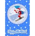 Skiing Santa on the slope mountain vector image