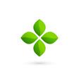 Cross plus eco leaves medical logo icon design vector image