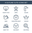9 cute icons vector image vector image