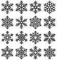 Black Flat Simple Traditional Classic Snowflakes vector image