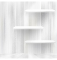 Blank white wooden bookshelf EPS10 vector image
