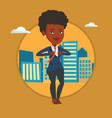 business woman opening her jacket like superhero vector image