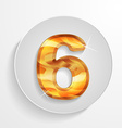 button wood numbers 6 with shadow effect vector image vector image