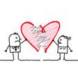 cartoon couple with broken heart vector image vector image