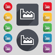 Chart icon sign A set of 12 colored buttons and a vector image vector image