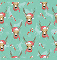 christmas deer seamless pattern reindeer head vector image