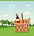 colorful poster scene landscape of picnic day and vector image