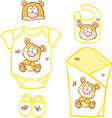 Cute Baby Layette with bear and butterfly vector image vector image