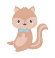 cute squirrel with bow tie animal cartoon isolated vector image