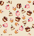 desserts seamless pattern vector image vector image