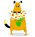 dog with a bouquet of flowers grateful mood cute vector image vector image