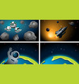 earth rocket and astronaut scene vector image