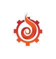 engineering gear cog flame fire symbol design vector image vector image