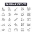 farming services line icons signs set vector image vector image