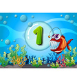flashcard number one with 1 fish underwater vector image vector image