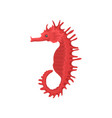 flat icon of bright red seahorse side view vector image