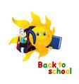 Funny cartoon sun with school bag vector image