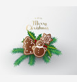 gingerbread sweets with merry christmas wishes vector image vector image