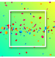 green festive background with colorful confetti vector image vector image