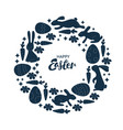 hand lettering happy easter card one color wreath vector image
