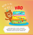 happy birthday cake with cute bear character vector image